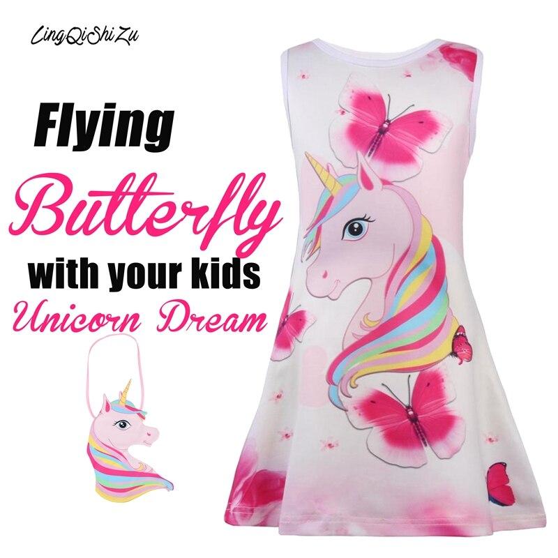 3 Colors Fashion Rainbow Toddler Unicorn Girl Dress Butterfly Flower Girl Dresses Sleeveless Birthday Party Children Kids Pink
