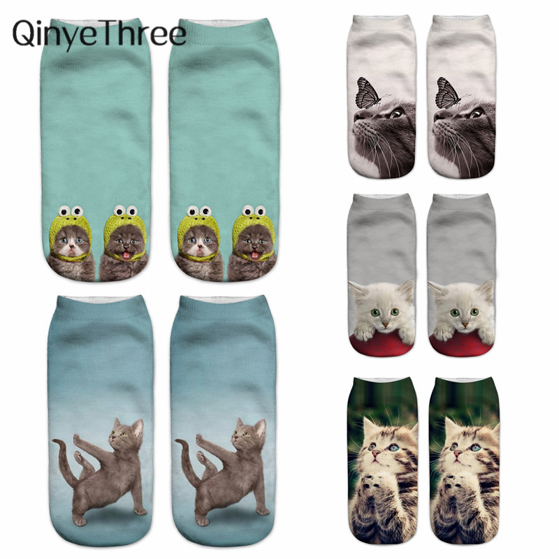 Funny Animal Cute 3D Print Kitten Women Ankle Socks Unisex Winter Hot Fashion Cartoon Christmas Cat Gift Sox Dropship