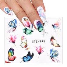 3D blu san valentino decorazione unghie acquerello farfalle cursori Nail Art trasferimento acqua decalcomania adesivo tatuaggio Manicure