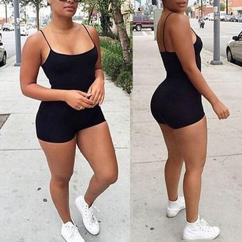 Fashion Women Sexy Sleeveless Spaghetti Straps Bodycon Bodysuit Sports Shorts Jumpsuit