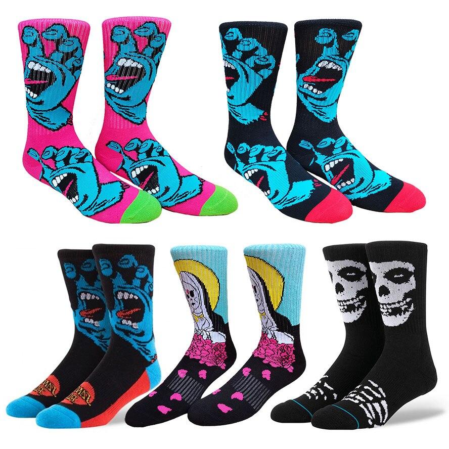 Santa Misfits уличной носки с коротким и широким подолом Классическая Кричащие Ручной череп в стиле хип-хоп Новинка носок Для мужчин уличные Стил...