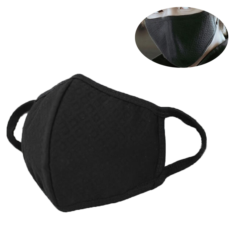 Unisex Black Mask Soft Cotton Winter Breathing Mask Anti-Dust Earloop Mouth Face Cover Outdoor Riding Dropshipping