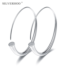 SILVERHOO 2019 new fashion copper silver plated pop horn big earrings earrings ladies party ear ring(China)