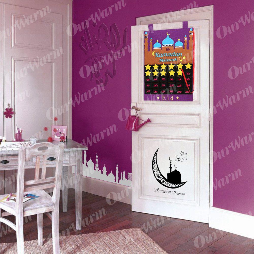 OurWarm Eid Mubarak Hanging Felt Advent Calendar 30Days Ramadan Decor Countdown Calendar for Kids Gifts Ramadan Party Supplies