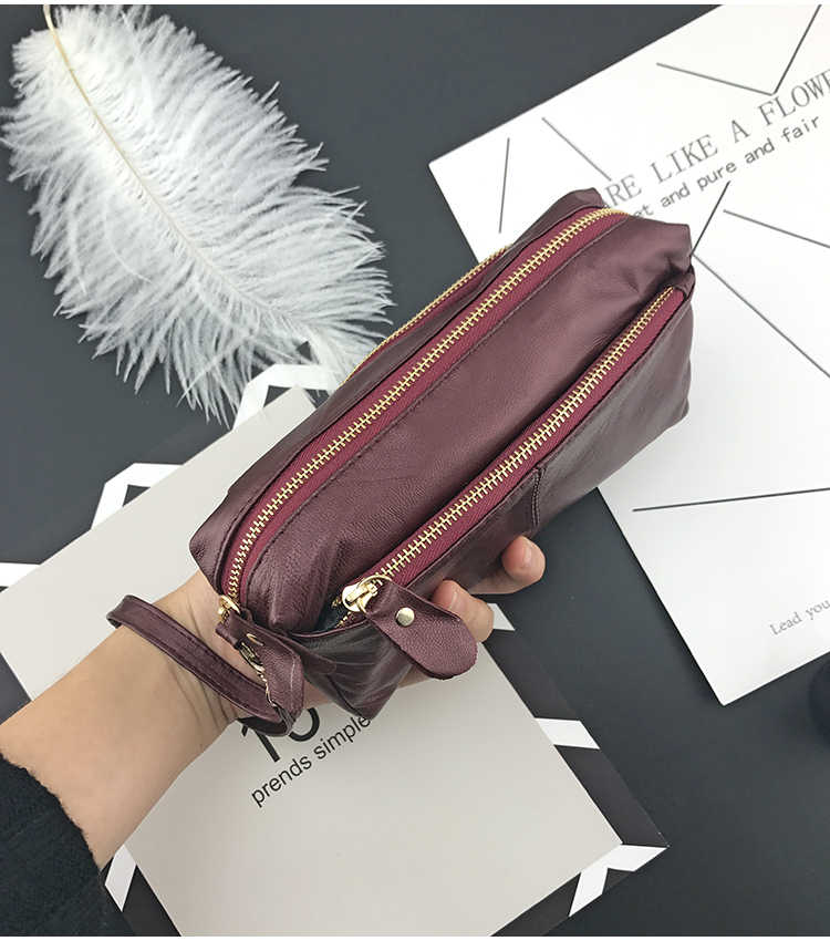NICOLE & CO Genuine Leather Wallets Women Handbag Zipper Purse Large Capacity Teen Girls Phone bag Card Holder Long Purse new