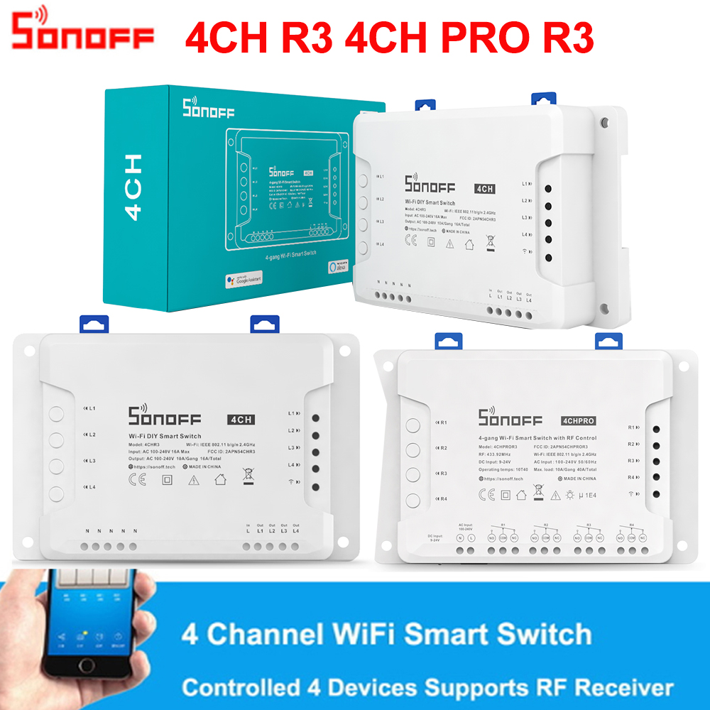 Sonoff 4CH R3  4CH PRO R3 4 Gang Smart WIFI Switch 433MHZ Din Rail Mounting Wireless Remote Control Timer DIY Switch Via Ewelink