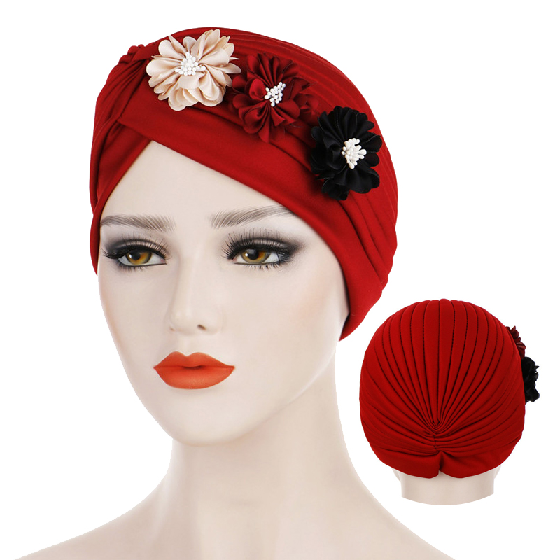 Fashion Flower Muslim Turban Crinkle Inner Hijab Caps Indian Hat Solid Cotton Islamic Wrap Underscarf Cap Hijab Bonnet For Women