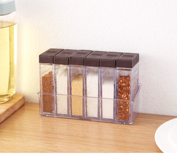 Caja de condimentos creativa de doble cubierta con condimento para el hogar base de olla transparente de seis rejillas sellado fuerte y