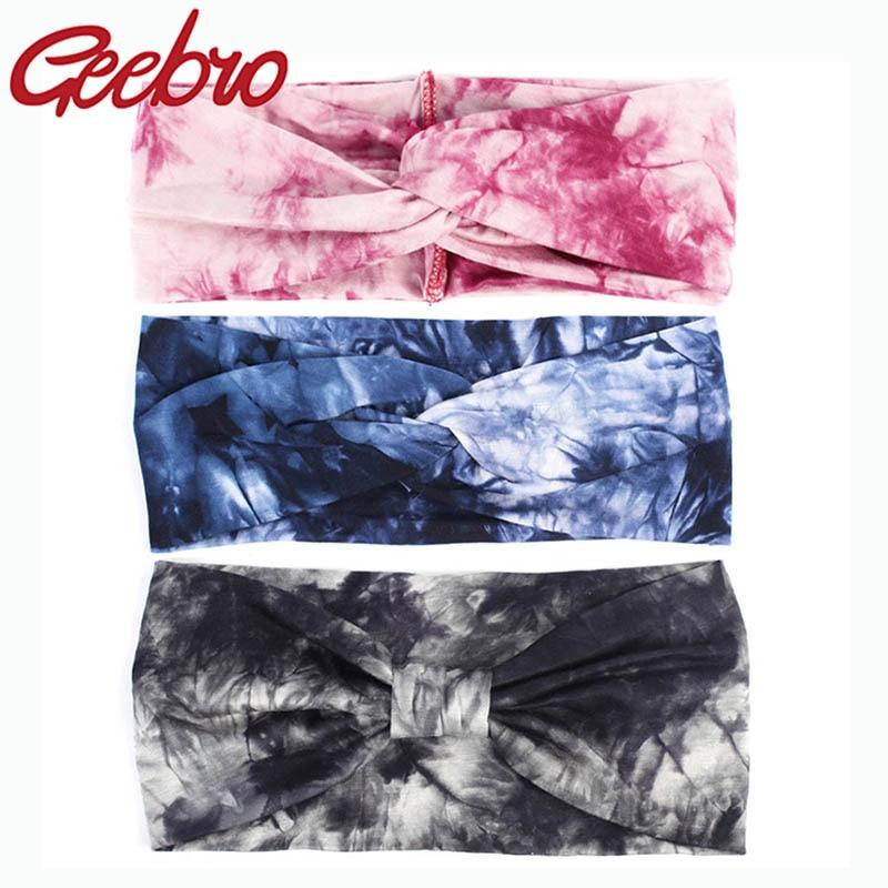 Geebro Women's Fashion Soft Splash Tie Dye Cotton Headbands Ladies Girls Summer Stretch Knot Hair Bands Accessories Yoga Turban