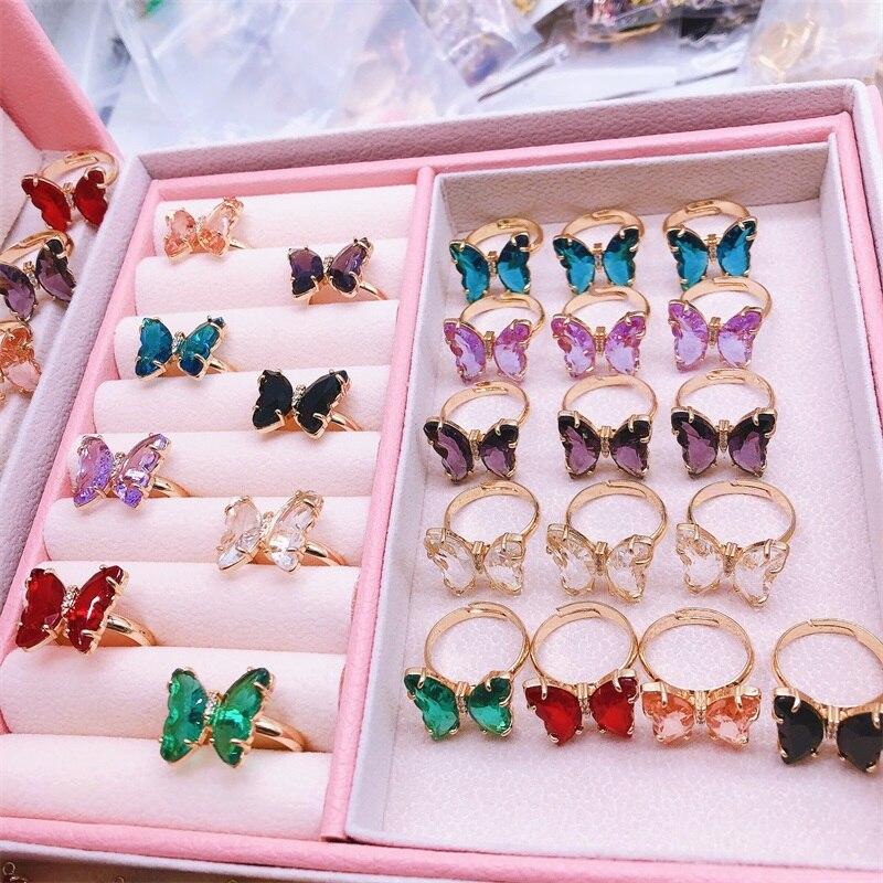 Женское регулируемое кольцо с фианитом, корейское разноцветное кольцо с блестящим кристаллом в виде бабочки, подарок на Новый год Кольца      АлиЭкспресс