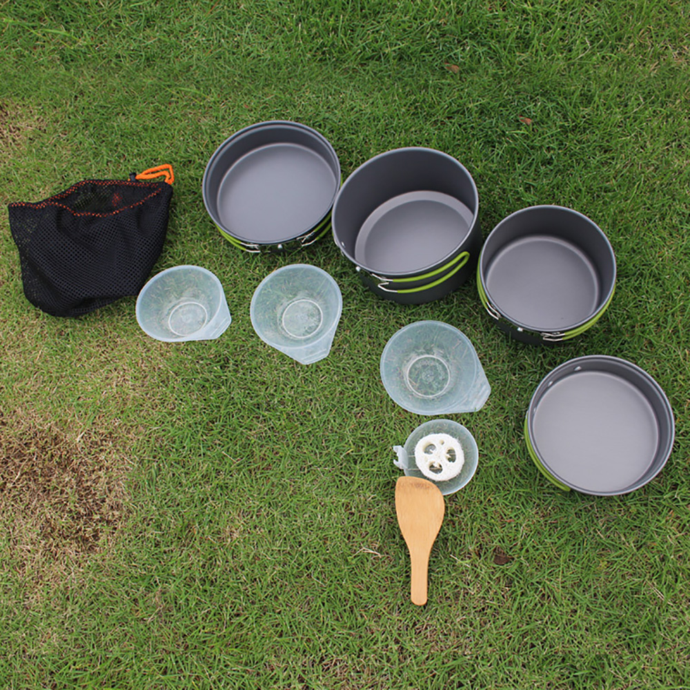 10Pcs Outdoor Cooking Picnic Camping Bowls Cookware Tools Travel Hiking Cookware Bowl Pot Pan Utensils Set Kitchen Tools
