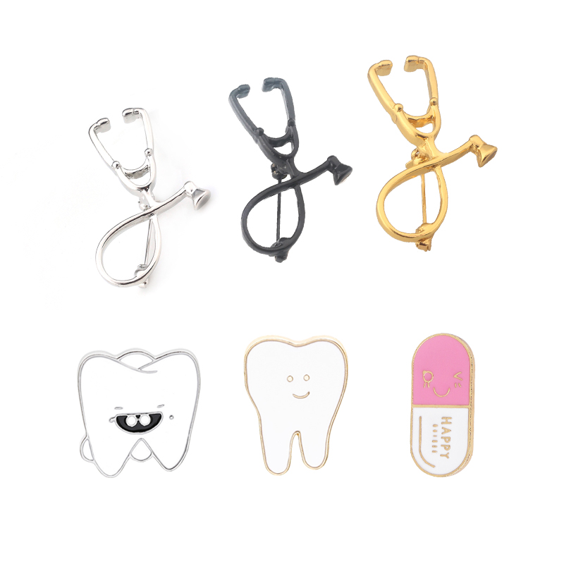 Stethoscope Brooches Tooth Capsule Enamel Pins Medical Jewelry For Doctor Nurse Dentist Gift Denim Shirt Lapel Pins Button Badge