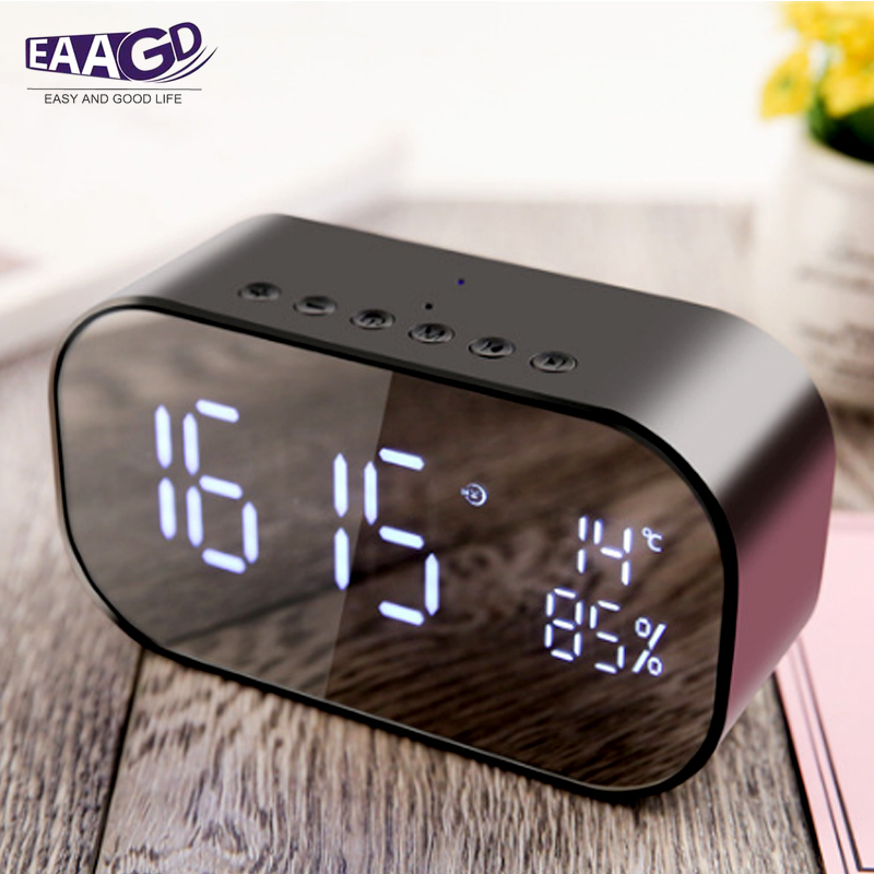 Bluetooth Wireless Desktop Alarm Clock Smart Speaker TF Card Audio With Mirror