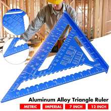 7/12 inch Metric Angle Ruler Aluminum Alloy Triangular Measuring Ruler Woodwork Speed Square Triangle Angle Protractor