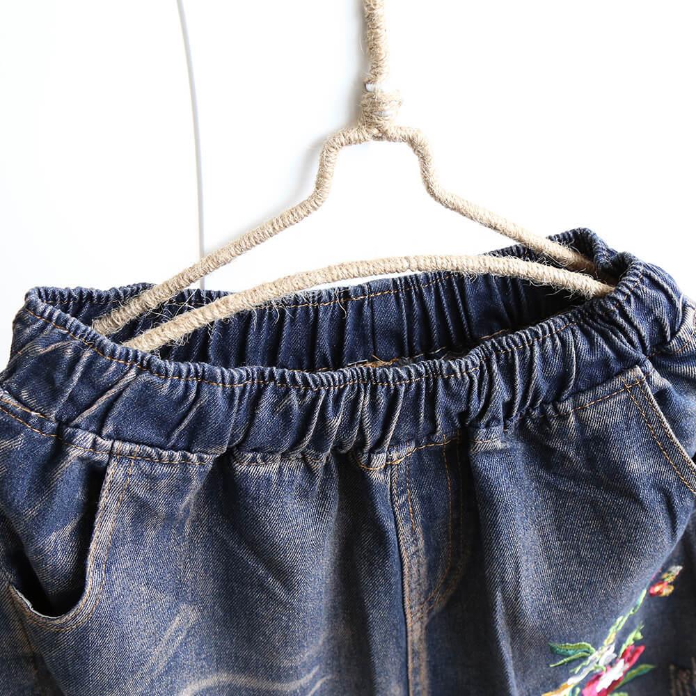 2018 nouveau Style femmes robe pantalons décontractés mince rétro littérature et Art grande taille ample-Fit brodé jean femmes Leggings