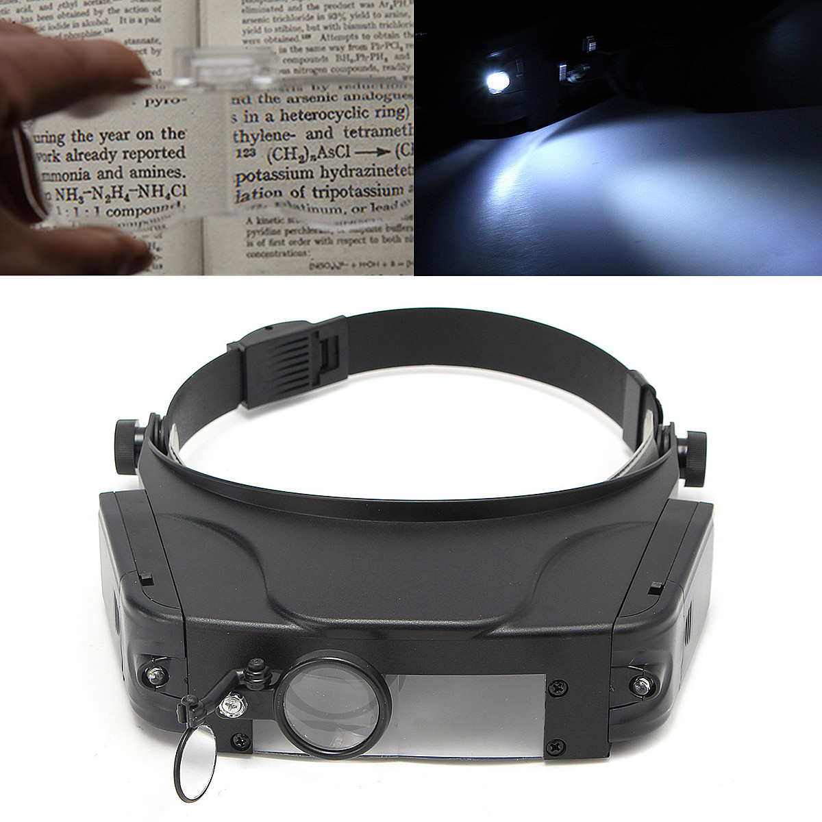 ZEAST Head-wearing Repairing Magnifier Optical Glasses Head Band Loupe Magnifying With LED Light for Repairing Jeweler, Reading