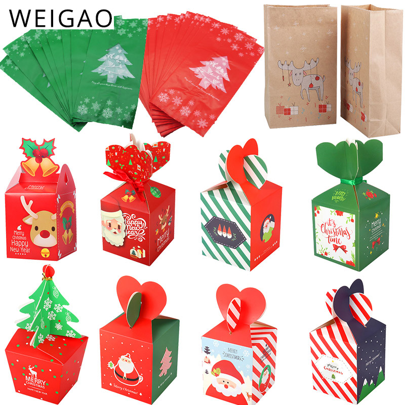 WEIGAO Cute Deer Tree Gift Box Candy Bags Merry Christmas Cookies Package For New Year 2019 Xmas Party Gift Bag Plastic Bags