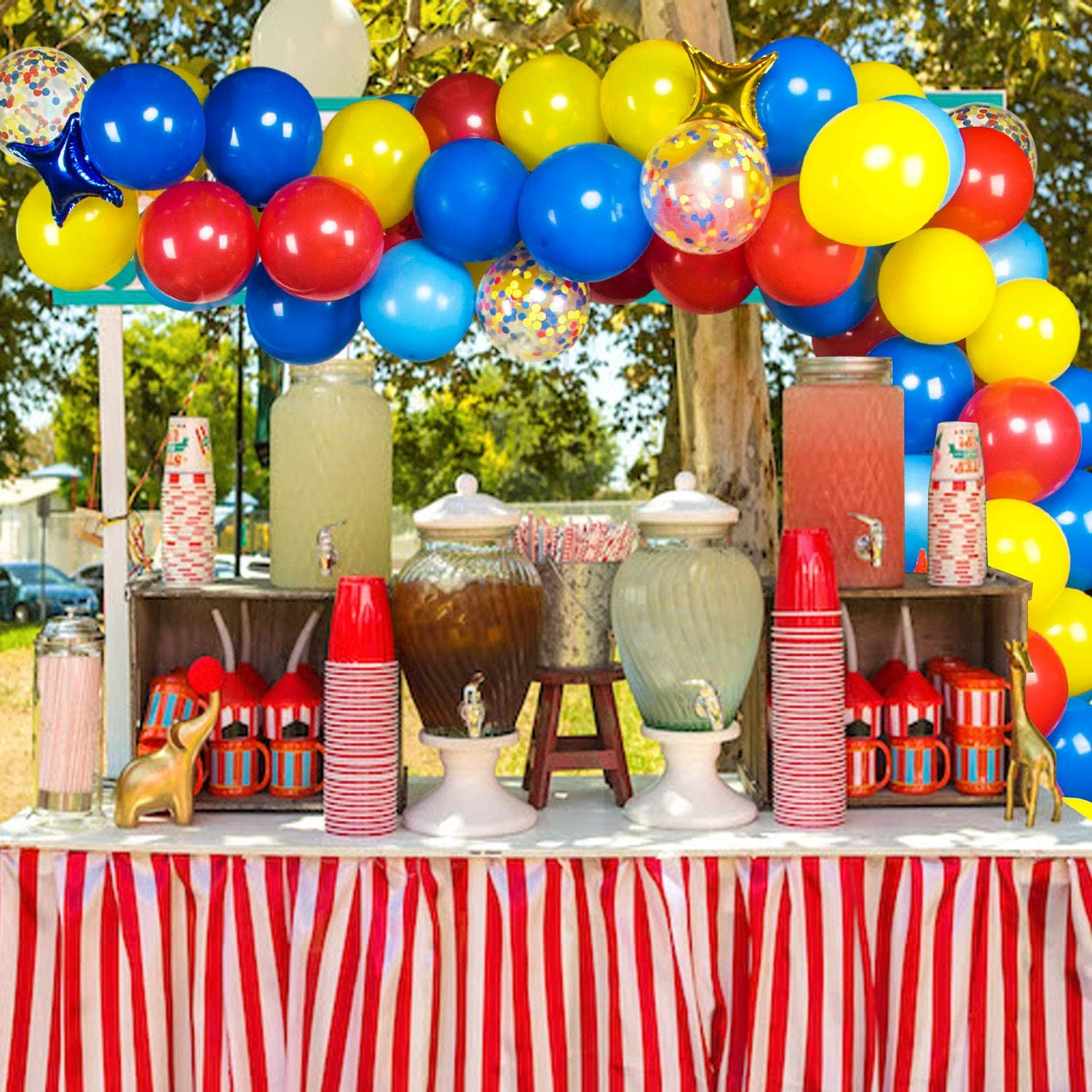 Carnival Circus Balloon Garland Arch Kit Blue Red Yellow Balloons Party Decor for Carnival Theme Baby Shower Wedding Birthday