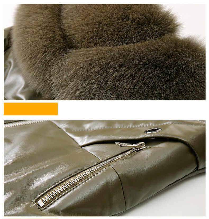 Jas Leer Real Winter Coat Vrouwen Real Fox Bontkraag Down Jas Vrouwen Schapenvacht Jas Plus Size Veste Femme Z18067