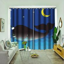 blue sky moon curtains 3D Blackout Curtains For Living room Bedding room Drapes Cotinas para sala bedding set double euro altinbasak navi sky blue