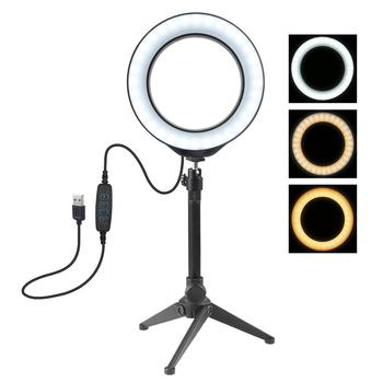 PULUZ 16 cm 6 2 inch LED Selfie Ringlight wideo fotografia ściemniana obręcz lampa i statyw na żywo Youtube makijaż wypełnić światło tanie i dobre opinie 3300-5600 k