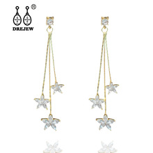DREJEW Big Small Star Statement Gold Silver Rose Stainless Steel Chain Custom Drop Earrings Sets for Women Wedding Jewelry 2011