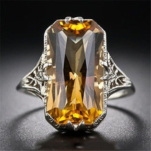 Exquisite Fine Citrine Hollow Out Carving Evening Party Rings Women Elegant Geometric Square Zircon Finger Rings(China)