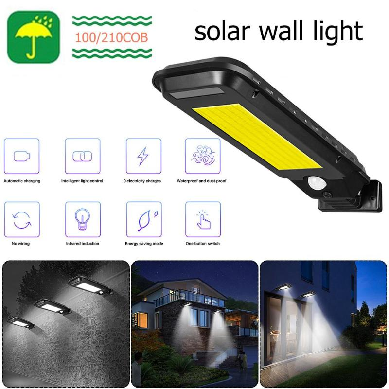 COB 40/210 LED Solar Street Light Wall Lamp Outdoor IP65 Waterproof Motion Sensor Path Alley Courtyard Street Night Lighting