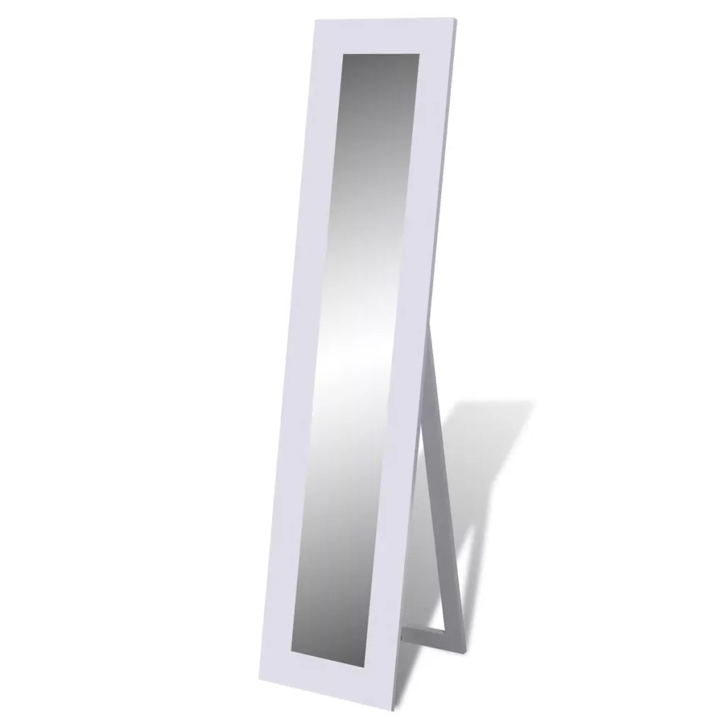 VidaXL High-Quality Free Standing Mirror Full Length White Mirror Size 135 X 22 X 0.3 Cm