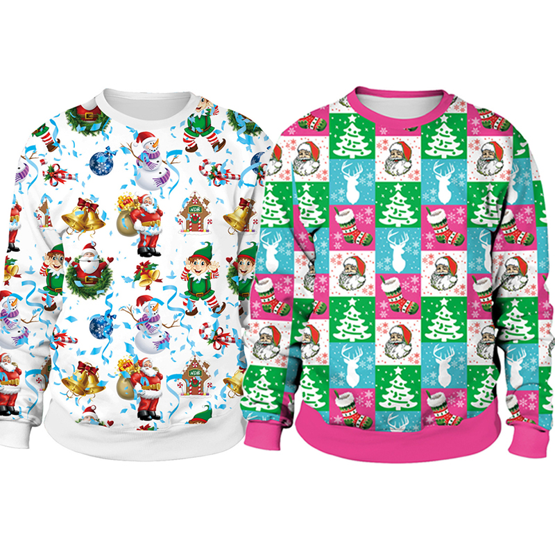 Autumn Winter Clothing 2019 Ugly Christmas Sweater Santa Elf Funny Pullover Womens Mens Hoodies Sweaters Tops