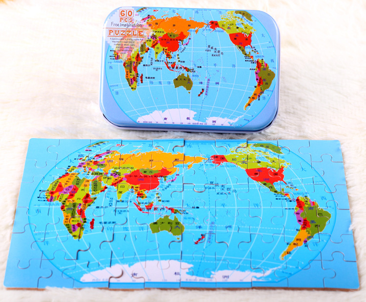 World Map 60 Pieces Of Iron Box Puzzle Children'S Puzzle Educational Toys 13*8.5*3cm Boxed