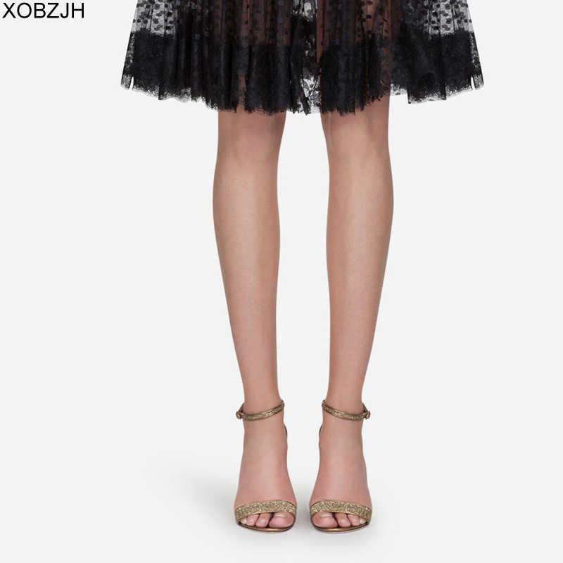 Desainer G Sandal Wanita Mewah 2019 Musim Panas Sepatu Sepatu Hak Tinggi Merek Gold Black Sandal Wanita Sandal Sepatu Wanita Tidak logo