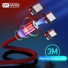 GTWIN 3 м Магнитный кабель для быстрой зарядки USB type-C Магнитный адаптер зарядное устройство Магнитный зарядный кабель Micro USB для iPhone xr xiaomi