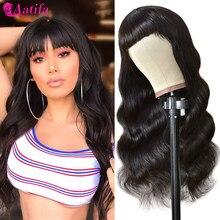 Parrucca dell'onda del corpo parrucche dei capelli umani parrucche a macchina piena con frangia 180% densità capelli peruviani Remy capelli 30 pollici Aatifa per donne nere