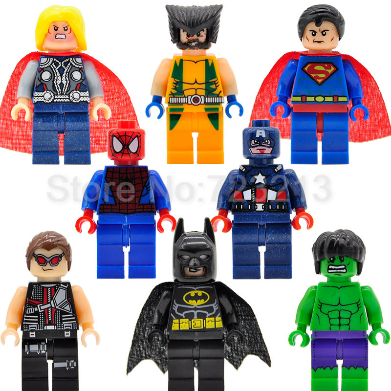 8pcs/lot Super Hero Figure Set Spiderman Batman Hulk Thor Wolverine Super Man Building Blocks Sets Models Bricks Toys Legoing