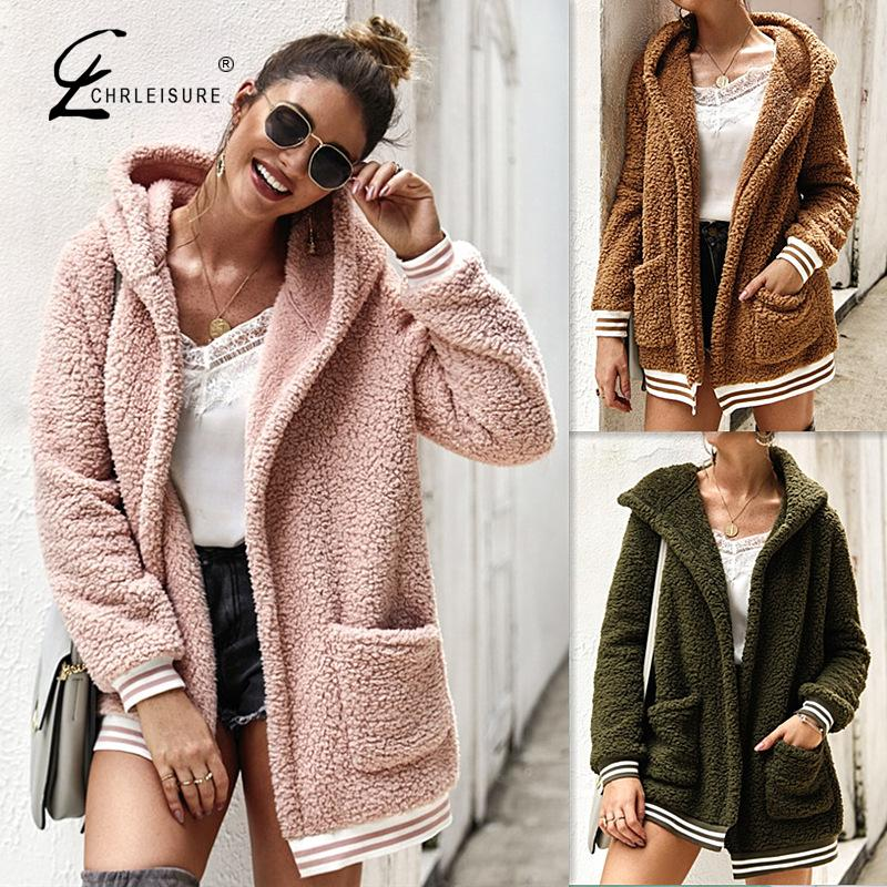 Women Fleece Coat Causal Loose Plush Jacket Fashion Warm 2019 Winter Female Parkas Overcoat