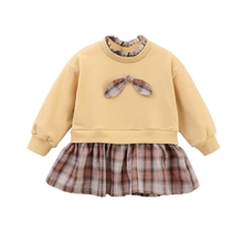 Baby Clothes Girls Dress Autumn Casual Long Sleeve Plaid Patchwork Kids Princess Dresses #p