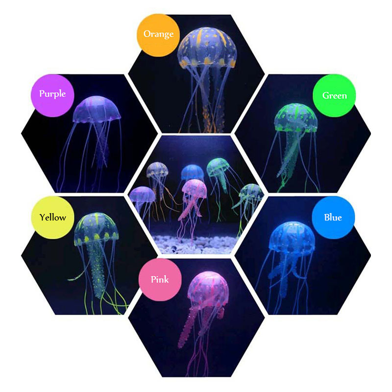 Artificial Swim Glowing Effect Jellyfish Aquarium Decoration Fish Tank Underwater Live Plant Luminous Ornament Landscape