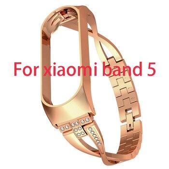 Pulsera de diamante para Xiaomi Band 5, correa de muñeca reemplazable para Xiomi Xaiomi Xiami Xaomi Mi, pulsera de Metal para mujer
