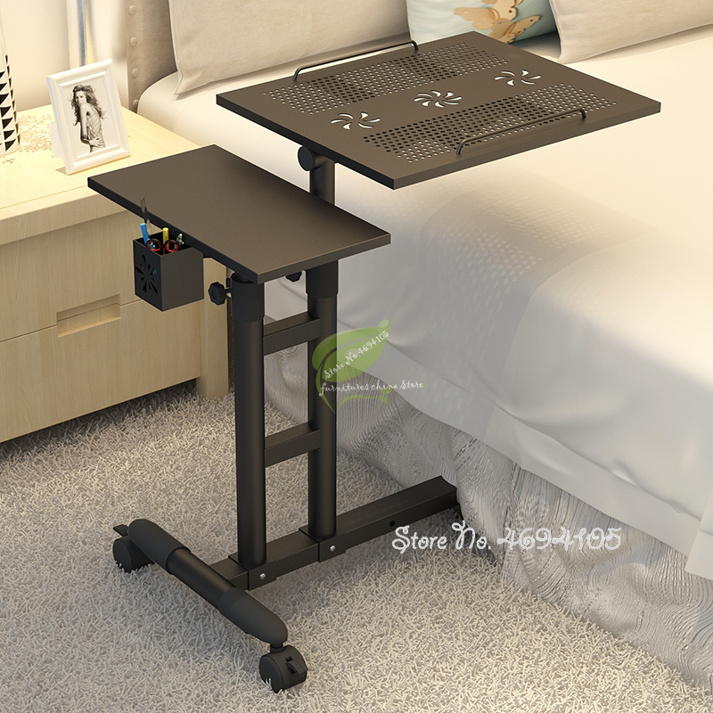 Adjustable Computer Desk Home Laptop Table Simple Modern Mobile Computer Table With Lifting Bedside Laptop Tables With Fans