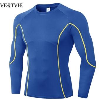 Koszulka kompresyjna VERTVIE męska koszulka Fitness z długim rękawem Patchwork koszulka do biegania męska koszulka gimnastyczna koszulka piłkarska odzież sportowa Sport mocno tanie i dobre opinie CN (pochodzenie) Wiosna summer AUTUMN Winter Poliester Pasuje prawda na wymiar weź swój normalny rozmiar China Stocks USA Stocks