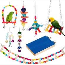 8 pçs pássaro papagaio brinquedos balanço mastigando pendurado gaiola brinquedos hammock bell swing escada poleiro para periquitos cockatiels pequenos pássaros