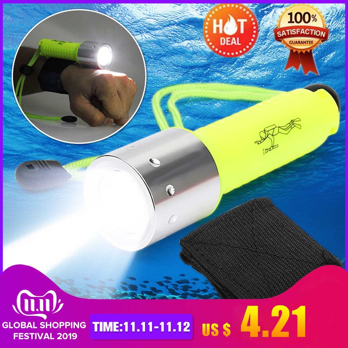 Smuxi 6000 Lumens Diving Flashlight Underwater 50m Torch 18650 Rechargeable LED Light Lamp For Diving Photography Video