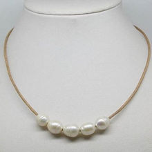 Natural 10-11mm Big White Cultural Pearl Necklace Leather Chain Growing String image