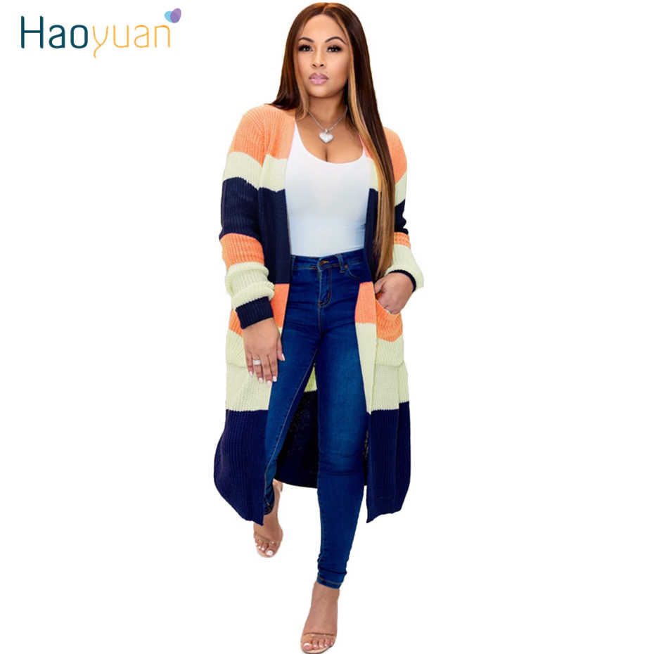 HAOYUAN Long Cardigan Sweater Women Fall Winter Clothes Plus Size Soft Tops Knitted Jumper Coat Loose Casual Oversized Sweaters