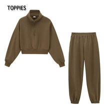 Toppies 2021 iki parçalı setleri kadın eşofman üstleri + pantolon rahat kıyafet topluluk femme giyim seti dresy damskie