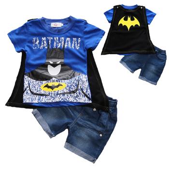 Batman zestawy ubrań dla chłopców z płaszczem letnia bawełniana kurtka dla chłopca koszula + spodenki jeansowe 2 sztuk zestaw ubrań dla dzieci święto dziękczynienia stroje tanie i dobre opinie Na co dzień O-neck Brak S001 COTTON Poliester Chłopcy Krótki REGULAR Pasuje prawda na wymiar weź swój normalny rozmiar