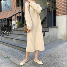 Turtleneck Long Sweater Dress Women Thick Knitted Sweater High Elasticity Female Rib Slim Dresses Winter Warm Pullover Dresses(China)