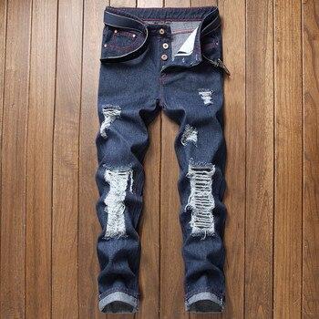 Moruancle Moda Hombres Hi Street Destruido Jeans Con Agujeros Rasgados Vaqueros Con Rasgados Pantalones Vaqueros Desgastados Pantalones Streetwear Jamiiprime Store