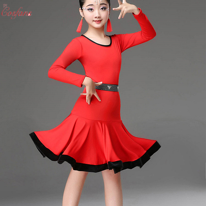 Girls Latin Dance Dress Long Short Sleeve Practice Dance Latin Skirt Ballroom Performance Clothes Latin Practice Skirt Hotsale